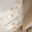 8 Bulbs Stair Cluster Pendant Modern Gold Hanging Light Fixture with Round Clear Crystal Shade