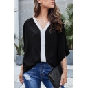 Popular Girls' Batwing Sleeve V-Neck Contrast Piped Oversize T Shirt