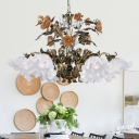 Pastoral Scalloped Metal Hanging Pendant 6/7/9 Heads White Glass Chandelier Lighting Fixture in Bronze for Living Room