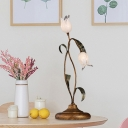 Tulip Bedroom Night Table Lighting Pastoral Metal 2/3/7 Lights Brass LED Nightstand Lamp