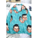 Blue Cute Long Sleeve Lapel Neck Button Down Letter BLUFF All Over Boy's Face Printed Oversize Shirt