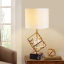 1 Head Drum Table Light Modernism Fabric Small Desk Lamp in Gold with Marble Base