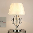 Tapered Drum Nightstand Lamp Modernism Fabric 1 Bulb Reading Book Light in Chrome