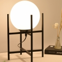 Contemporary 1 Bulb Desk Lamp Black/Gold Spherical Reading Book Light with White Glass Shade
