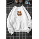 Chic Boys Long Sleeve Crew Neck Lovely Cat Printed Relaxed Fit Pullover Sweatshirt