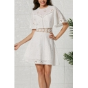 Formal Women's Bell Sleeve Crew Neck Floral Embroidered Cut Out Back Mini A-Line Dress in White
