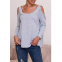 Cozy Trendy Women's Solid Color Long Sleeve Cold Shoulder Loose Fit T Shirt