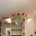 Green Scalloped Chandelier Pendant Light Pastoral Opal Glass 3/5/8 Heads Living Room LED Ceiling Lamp