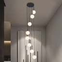 White/Clear Prismatic Glass Ball Cluster Pendant Simple 8/9 Heads LED Suspension Lighting for Living Room