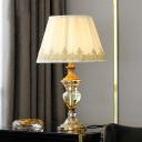 Tapered Desk Light Modern Fabric 1 Bulb Beige Night Table Lamp with Crystal Base