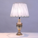 Modernism Urn Table Light Cut Crystal 1 Bulb Small Desk Lamp in Pink with Fabric Shade