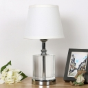 1 Bulb Living Room Table Lamp Modernist White Desk Light with Flare Fabric Shade