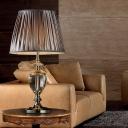 1 Head Living Room Desk Lamp Modernism Grey Table Light with Barrel Fabric Shade