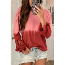 Pretty Women's Bow Tie Sleeves Round Neck Ombre Loose Fit T Shirt