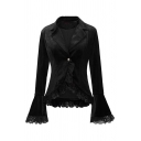 Retro Women's Plain Bell Sleeve Notch Collar Lace Trim Lace Up Back Slim Fit Velvet Blazer