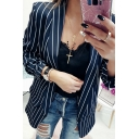 Black Stylish Long Sleeve Shawl Collar Stripe Printed Slim Fit Blazer for Ladies
