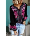 Ethnic Women's Bell Sleeve V-Neck Floral Printed Loose Fit T Shirt