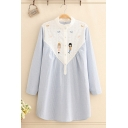 Preppy Girls' Long Sleeve Stand Collar Cartoon Embroidered Lace Patched Stripe Printed Longline Loose Fit Shirt in Blue