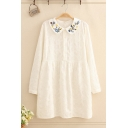 Fancy Ladies' White Long Sleeve Lapel Collar Floral Embroidery Button Front Lace Longline Shirt