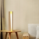 Wood Shaded Task Light Contemporary LED Small Desk Lamp in Beige for Living Room