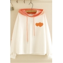 Preppy Girls Long Sleeve Drawstring Heart Printed Contrasted Relaxed Fit Hoodie