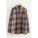 Casual Women's Long Sleeve Lapel Collar Button Down Pocket Panel Plaid Printed Wool Loose Fit Shirt