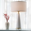 Modernist 1 Bulb Table Light White Cylindrical Small Desk Lamp with Fabric Shade
