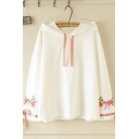 Women's Trendy Long Sleeve Drawstring Floral Embroidery Tied Loose Fit Hoodie