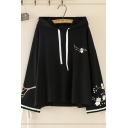 Chinese Style Ladies Long Sleeve Drawstring Cat Floral Printed Tied Relaxed Fit Hoodie