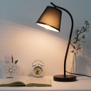 Curved Arm Desk Lamp Modernist Metal 1 Bulb Black/White Task Light with Cone Fabric Shade