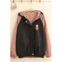 Leisure Women's Long Sleeve Hooded Zipper Front Checker Panel Carrot Embroidery Colorblock Loose Jacket
