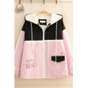 Trendy Girls' Long Sleeve Hooded Zipper Front Colorblocked Bear Printed Sherpa Liner Flap Pocket Jacket