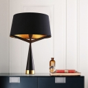 Tapered Drum Nightstand Lamp Contemporary Fabric 1 Head Reading Book Light in Black