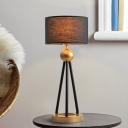 Straight Sided Shade Task Lighting Modernism Fabric 1 Head Night Table Lamp in Black