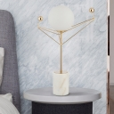 Modernism Sphere Desk Light White Glass 1 Head Bedroom Table Lamp with Marble Base