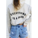 Cool Gray Long Sleeve EVERYTHING IS A BLUR Letter Print Loose Fit Crop Hoodie for Girls