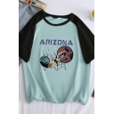 Fashionable Girls Short Sleeve Crew Neck Letter ARIZONA Rocket Graphic Colorblocked Fit T Shirt