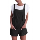Casual Girls Sleeveless Buckle Straps Pockets Side Solid Color Relaxed Suspender Shorts