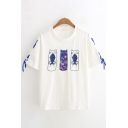 Womens Stylish Short Sleeve Crew Neck Cat Fish Patterned Lace Up Relaxed Fit Tee Top