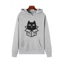 Preppy Looks Long Sleeve Box Cat Printed Relaxed Fitted Hoodie with Pocket