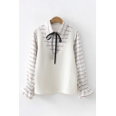 Preppy Looks Long Sleeve Lapel Collar Tied Front Plaid Printed Knit Patchwork Relaxed Fit Shirt