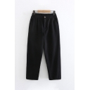 Womens Casual Partially Elasticized Waistband Ankle Length Carrot Fit Plain Pants