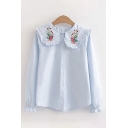 Pretty Ladies Long Sleeve Peter Pan Collar Button Front Floral Embroidery Stringy Selvedge Relaxed Shirt