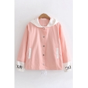 Lovely Girls Long Sleeve Hooded Button Down Letter STAND BOOK FROM Printed Rabbit Graphic Colorblock Oversize Jacket