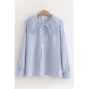 Preppy Ladies Solid Color Long Sleeve Peter Pan Collar Button Front Bow Tie Loose Shirt
