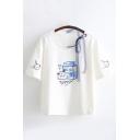 Unique Chic Girls Short Sleeve Round Neck Letter YUMMY Cartoon Milk Graphic Bow Tie Mesh Loose T-Shirt