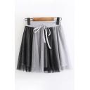 Preppy Womens Drawstring Waist Colorblocked Mesh Mini Pleated A-Line Skirt