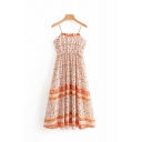 Fancy Womens Sleeveless All Over Flower Printed Spaghetti Straps Maxi Pleated A-Line Cami Dress in Orange