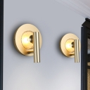 Gold 1 Light LED Wall Lamp Traditional Metal Tube Wall Mount Light for Foyer