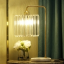 Modernist LED Table Light Gold Cylindrical Desk Lamp with Hand-Cut Crystal Shade